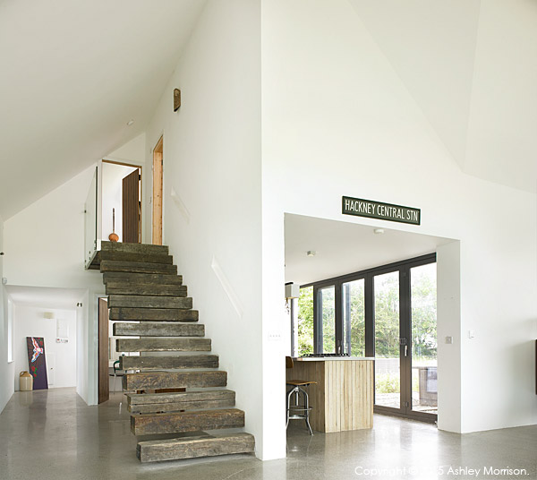 The stairs in Dominic & Louise McGuane's renovated farmhouse called The Safe House near the village of Cooraclare in County Clare.
