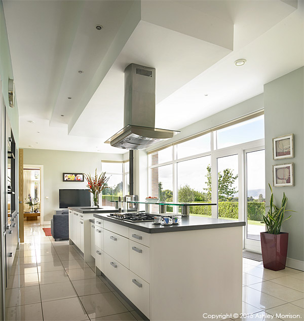 The kitchen of Anna & Jamie McMinnis's contemporary detached house which overlooks the County Down town of Holywood and Belfast Lough.