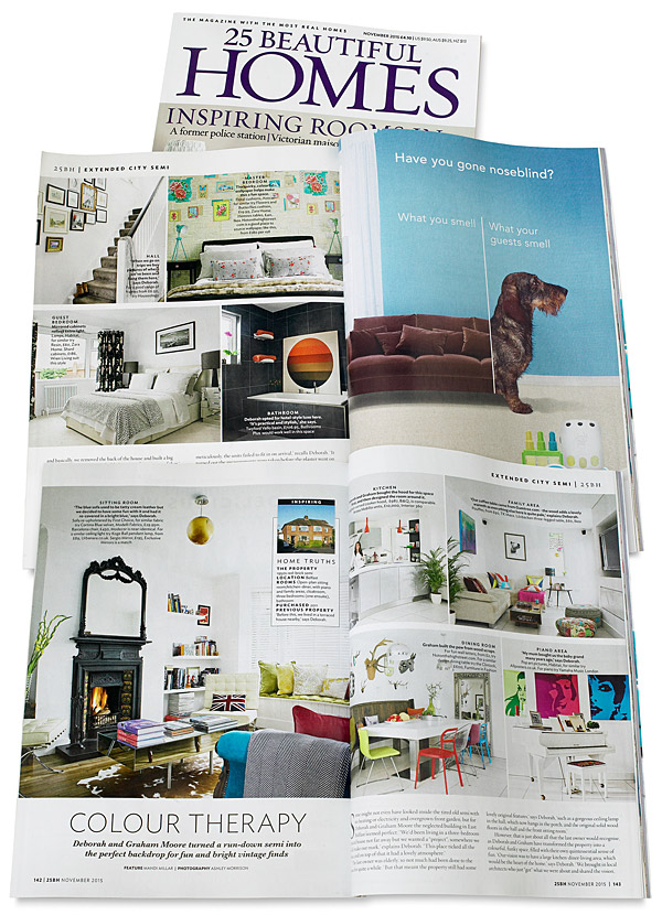 Pages 142 to 144 in the November 2015 issue of 25 Beautiful Homes magazine - Deborah & Graham Swail's semi-detached house in the Belmont area of Belfast.