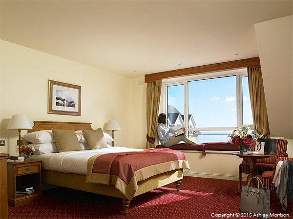 The Atlantic View bedroom at the Galway Bay Hotel on the promenade at Salthill.