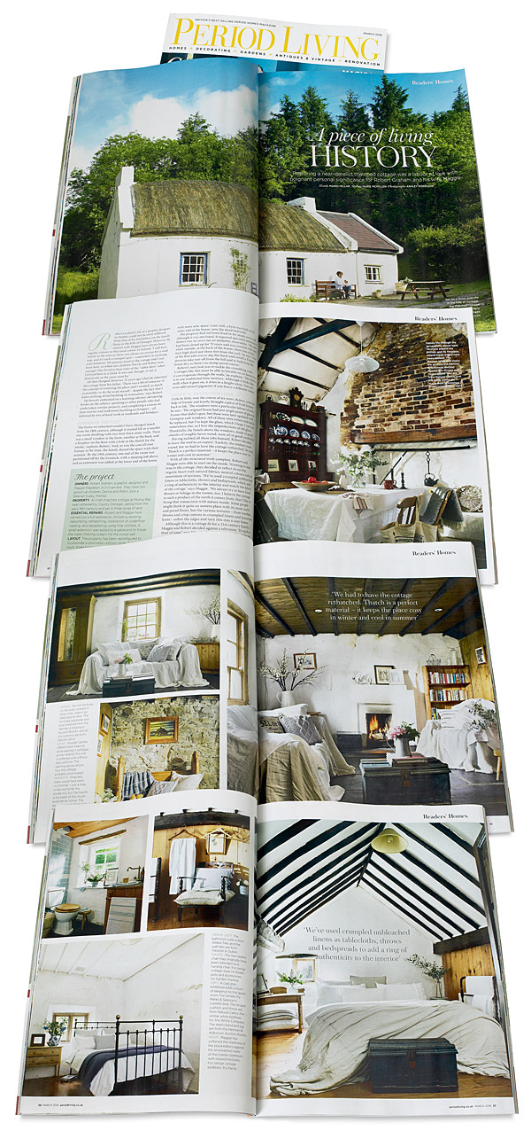 Pages 50 to 57 in the March 2016 issue of Period Living magazine featuring Maggie and Robert Graham's 18th century Irish thatched cottage near the village of Kerrykeel in County Donegal.