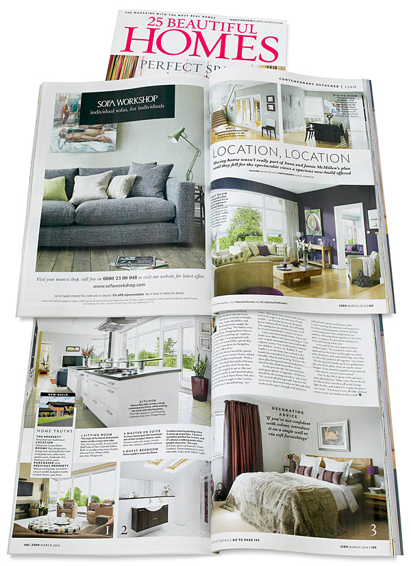 Pages 107 to 109 in the March 2016 issue of 25 Beautiful Homes magazine featuring Anna & Jamie McMinnis's contemporary detached house which overlooks the County Down town of Holywood and Belfast Lough.