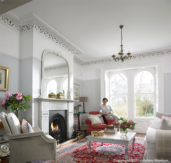 Emma Cooper in the sitting room of her Victorian semi in Belfast.