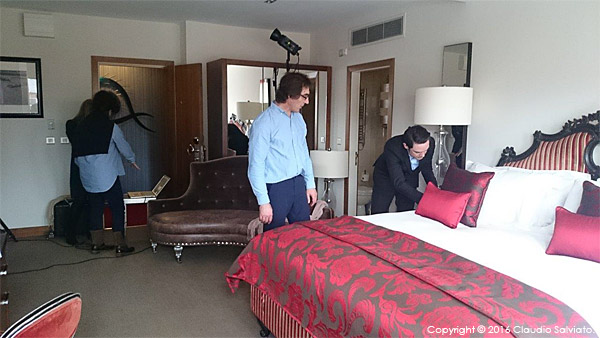 Behind the scenes during the shoot at the Dylan Hotel in Dublin.