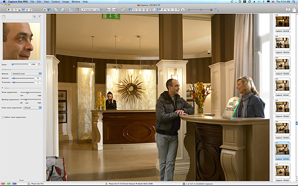 Behind the scenes during the shoot of the Reception area at Killarney Park Hotel in the Irish County of Kerry.