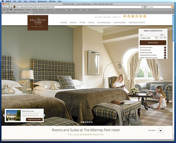 The accommodation page on the Killarney Park Hotel's website.