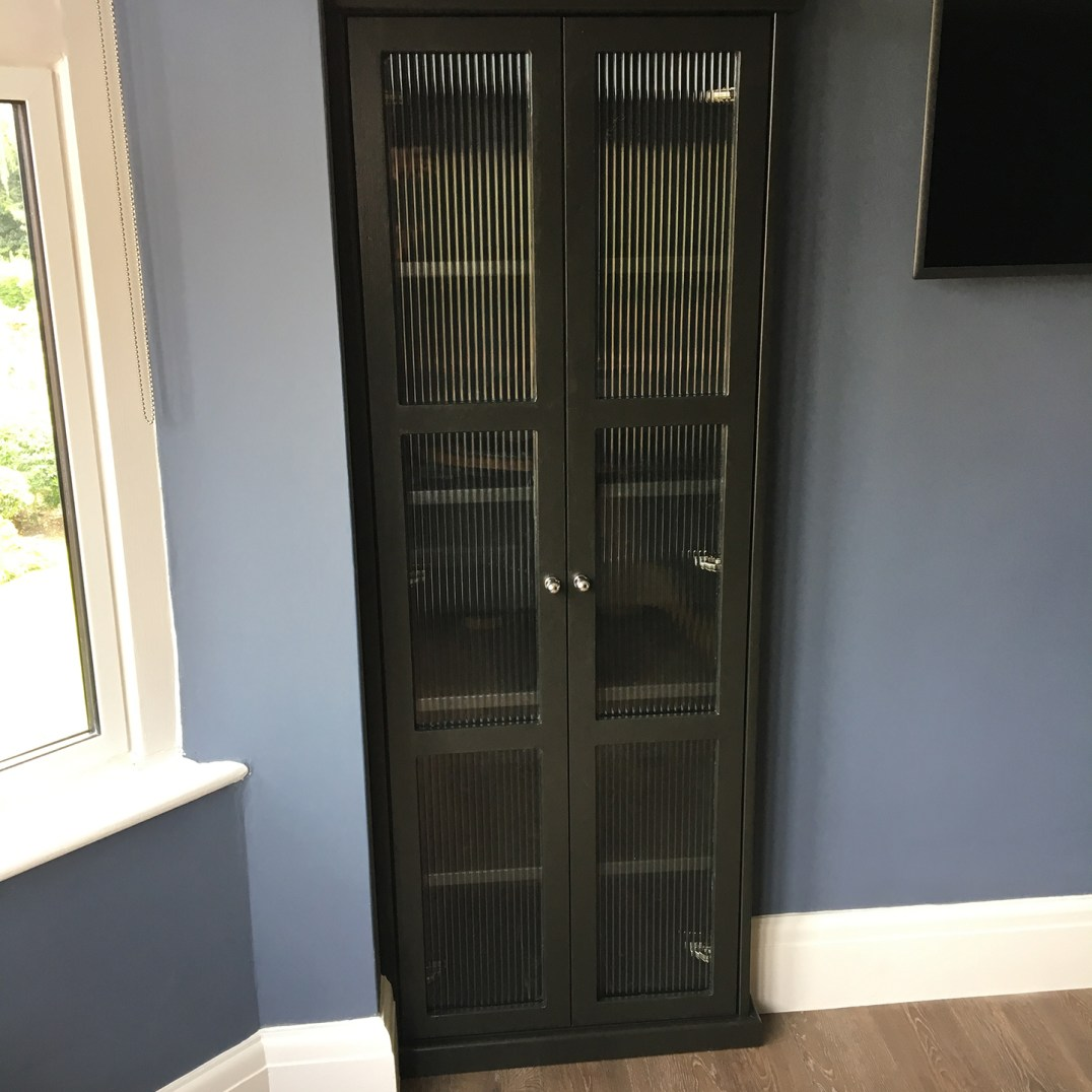 Drinks cabinet - hardwood doors and reeded glass