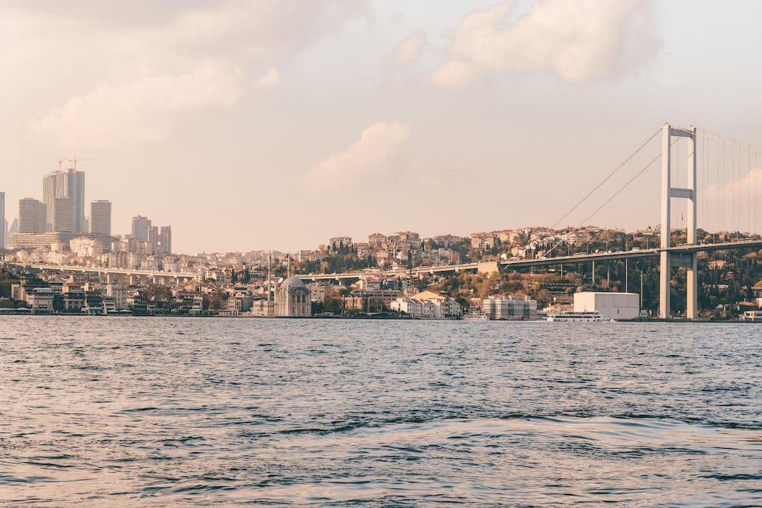 View of the Bosphorus and Bosphorus Bridge from the Asian side of Istanbul