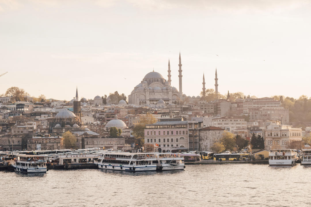 Rustem Pasha Mosque from the Galata Bridge at sunset