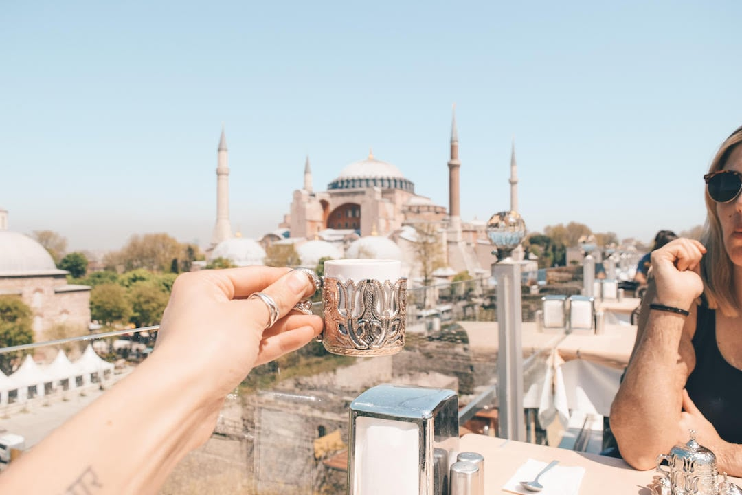 View of Hagia Sophia from rooftop terrace at Seven Hills in Istanbul