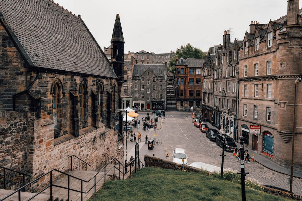 View of the Grassmarket from Granny's Green steps in Edinburgh, Scotland