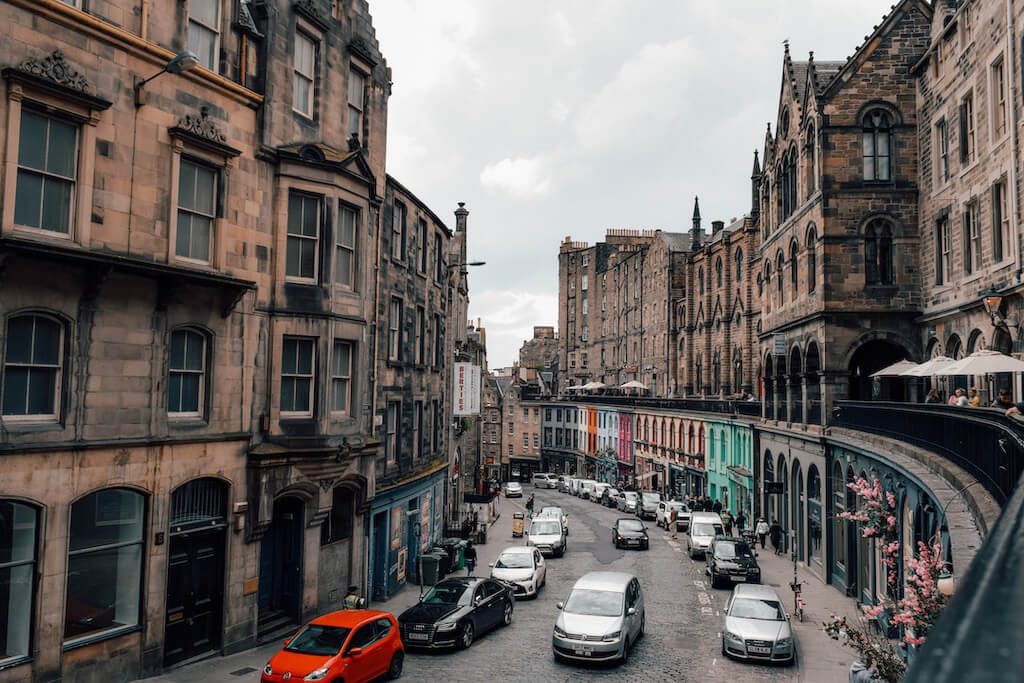 View from above looking down Victoria Street, Edinburgh