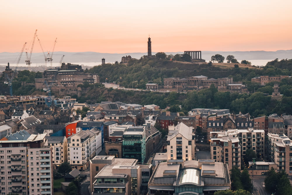 View of Calton Hill from Arthur's Seat, Edinburgh, Scotland
