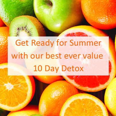 Save £75 on our 10 day detox package and be ready for summer.