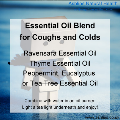 Essential Oil blend for coughs and colds.  Blend ravensara, thyme and peppermint in an oil burner