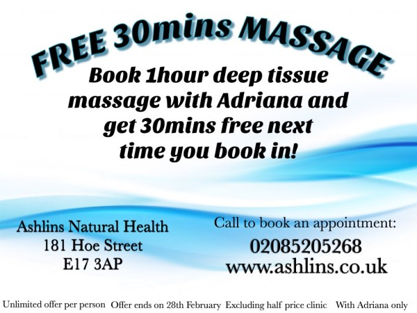 30 mins massage free at Ashlins Natural Health