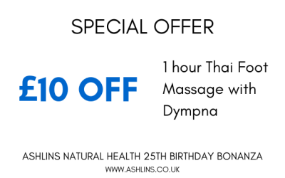 OFFER: Save £10 on Thai Foot Massage with Dympna. 27/5/19-9/6/19