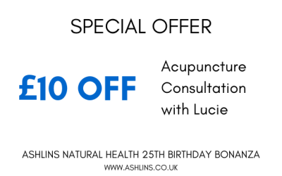OFFER: £10 off Acupuncture Consultations with Lucie, 3rd-16th June 2019