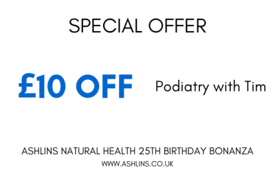OFFER: £10 off Podiatry with Tim, 13th-26th May 2019