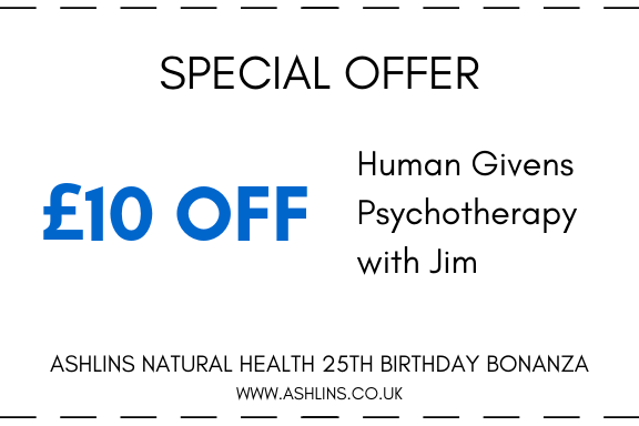 OFFER: £10 Off Human Givens with Jim, 24/6/19-7/7/19