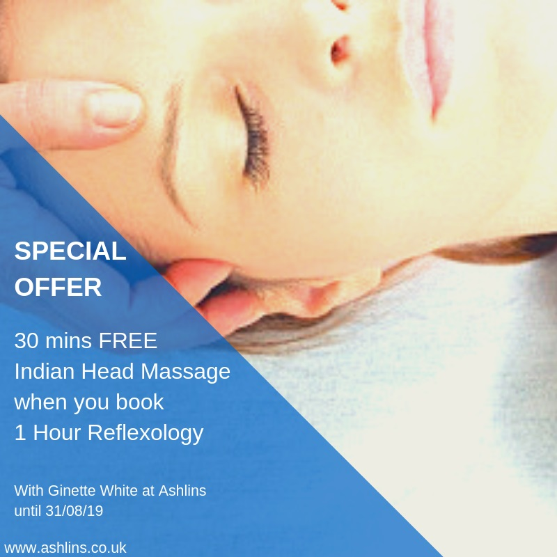 Free 30 mins indian head massage with 1 hour reflexology in August 2019