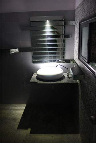 Bathroom Interior Designs - Sharan's Washroom with mirror in strip fashion -