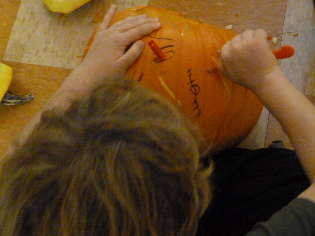 Pumpkin Carving in the Grade School, October 2012