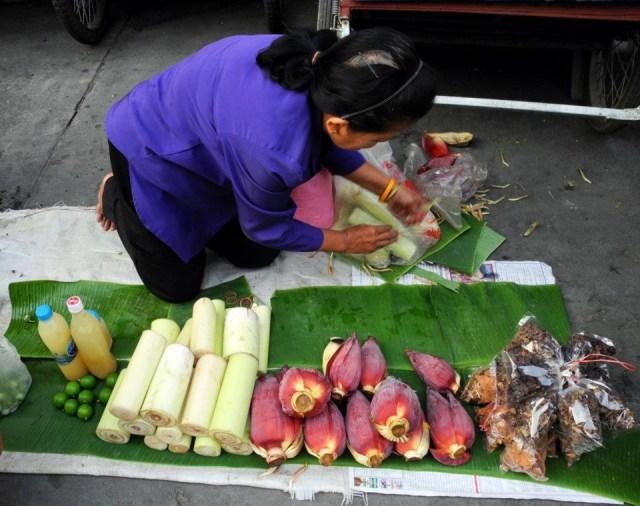 foglia, inflorescenze e tronco di banano