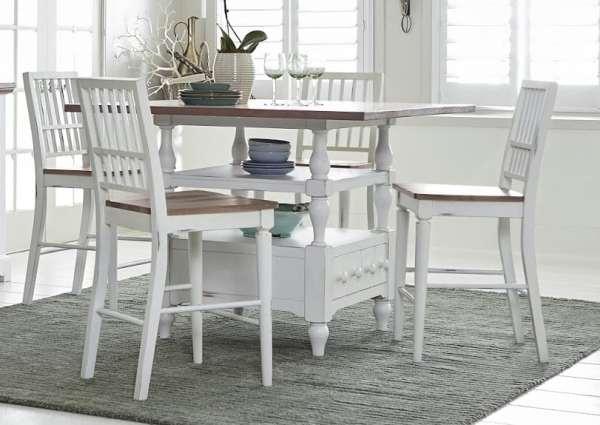 Set Meja Makan Kursi Model Duco Putih
