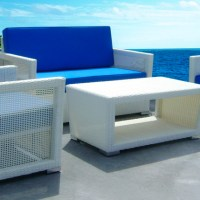 Kursi Sofa Rotan Sintetis Putih