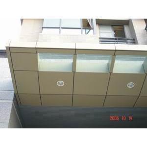 鋁板造型烤漆雨遮林口青荷(部份).工程介紹 編號:11086-雄岡金屬有限公司