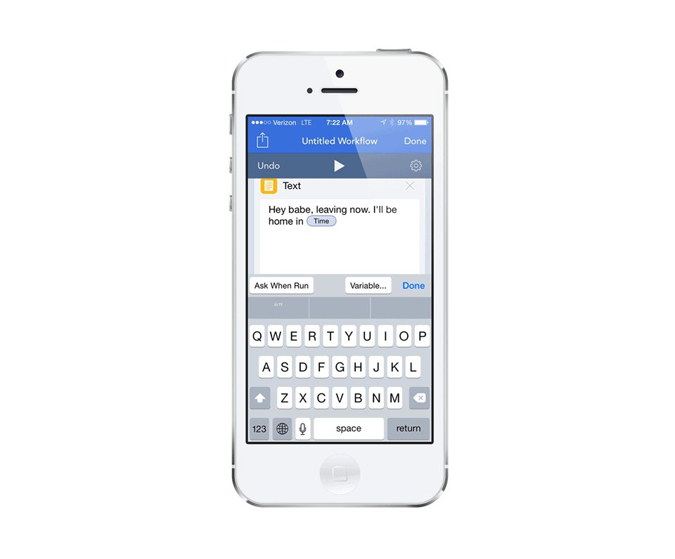 The finished text message in Workflow