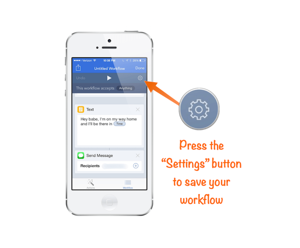 "Save your workflow by pressing the ""Settings"" button"