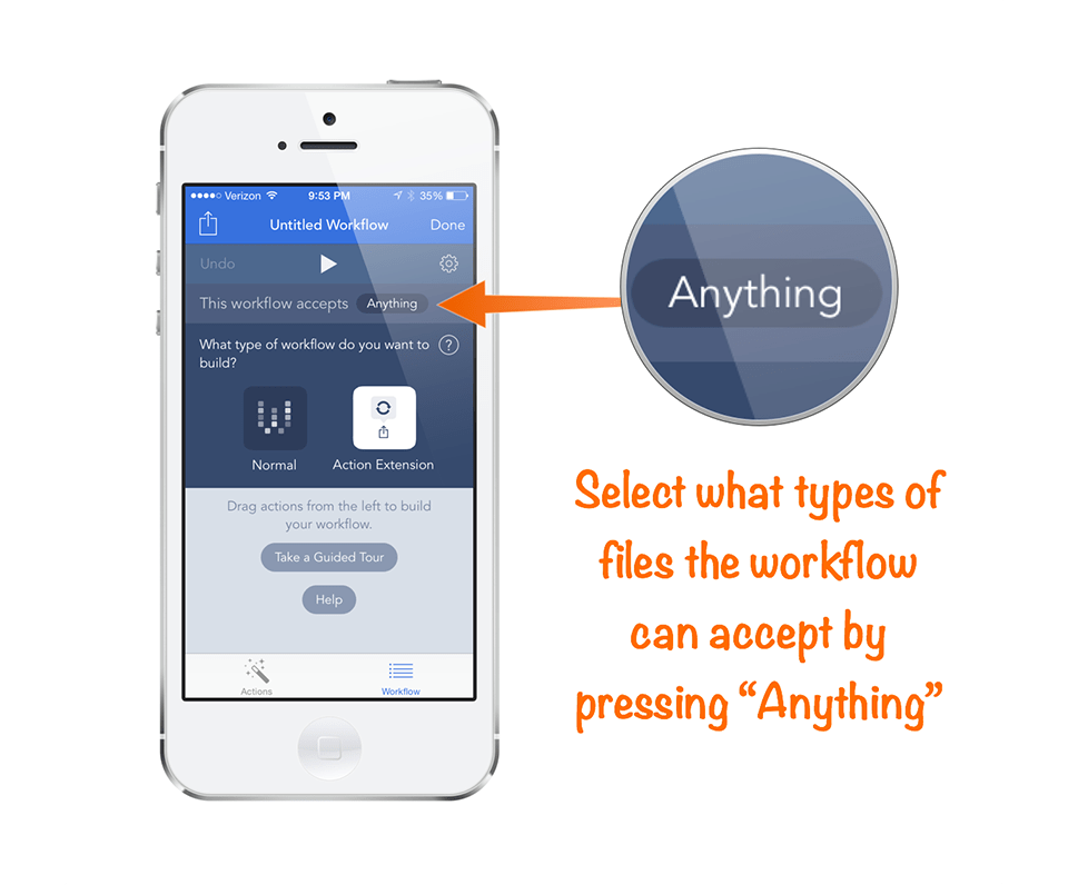 Select what workflow accepts