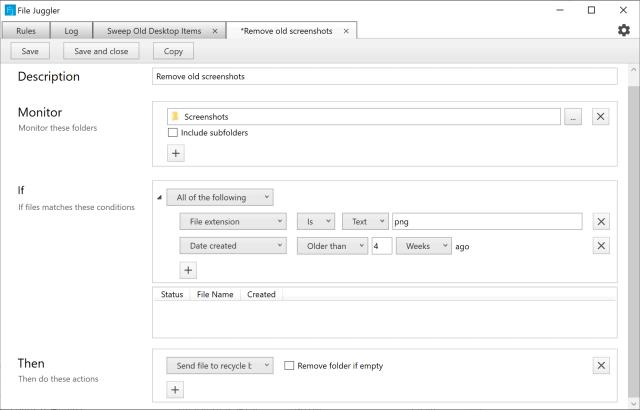 File Juggler delete old screenshots
