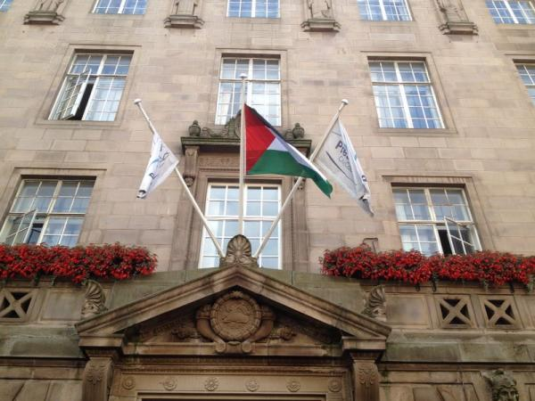 Asian Image: Palestinian flag raised at Preston Town Hall
