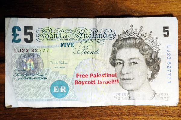 A £5 note with the anti semetic message stamped on it stamped on at Willows News, Willows Lane, Daubhill