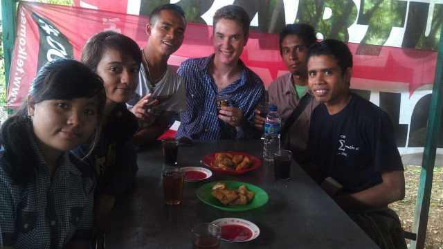Local Language, local hangouts. Enjoying some snacks at Nusa Cendana University.