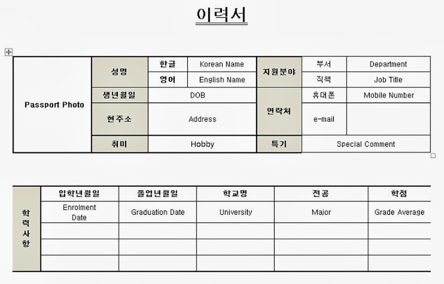 Korean Resume / CV
