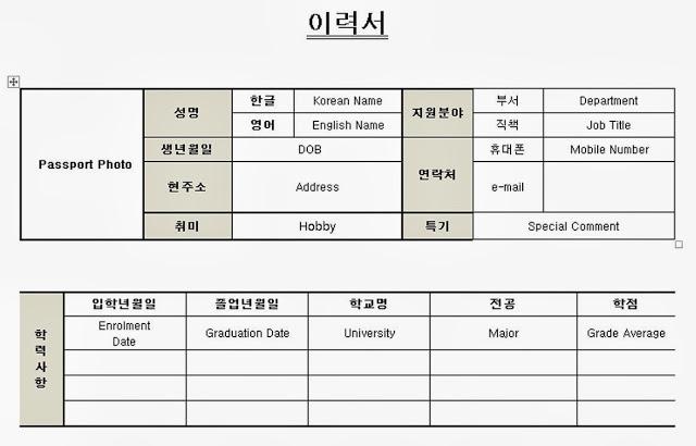 Korean Resume / CV