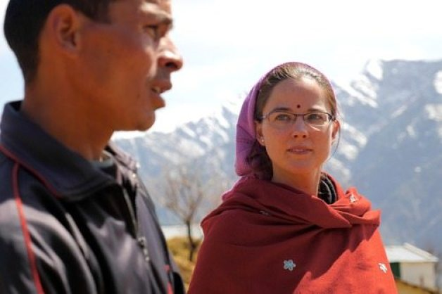 Jane Dyson and Makar Singh on set. Credit: Lifelines film