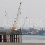3월 17일 중국측에서 바라본 신압록강대교 건설현장. 2012년 3월 남정학 기자 촬영