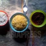A typical meal: corn is supplemented with vegetables in a miso dressing (right) and salt (left). (March, 2011, Hyaesan, Ryanggang Province, by Choi Gyon-ok)