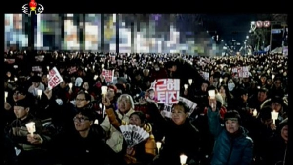 A rally calling for President Park Geun-hye to quit.  Buildings behind are blurred out.(Quoted from Korean Central Television on December 3)