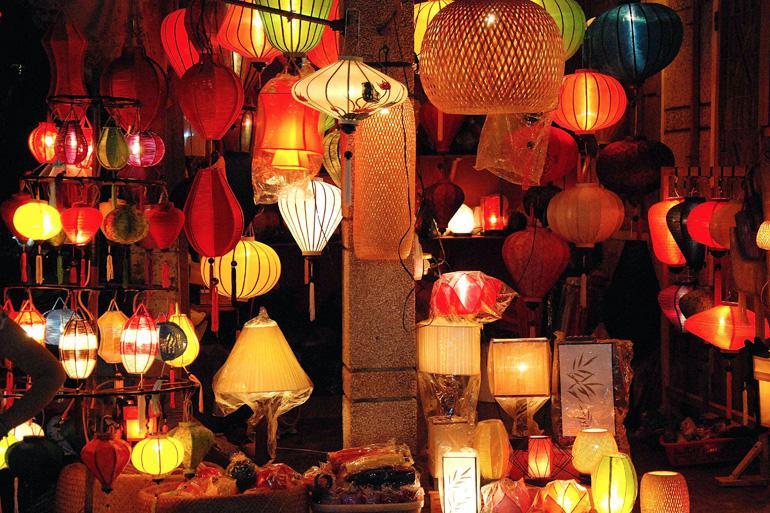 Lantern shop at night