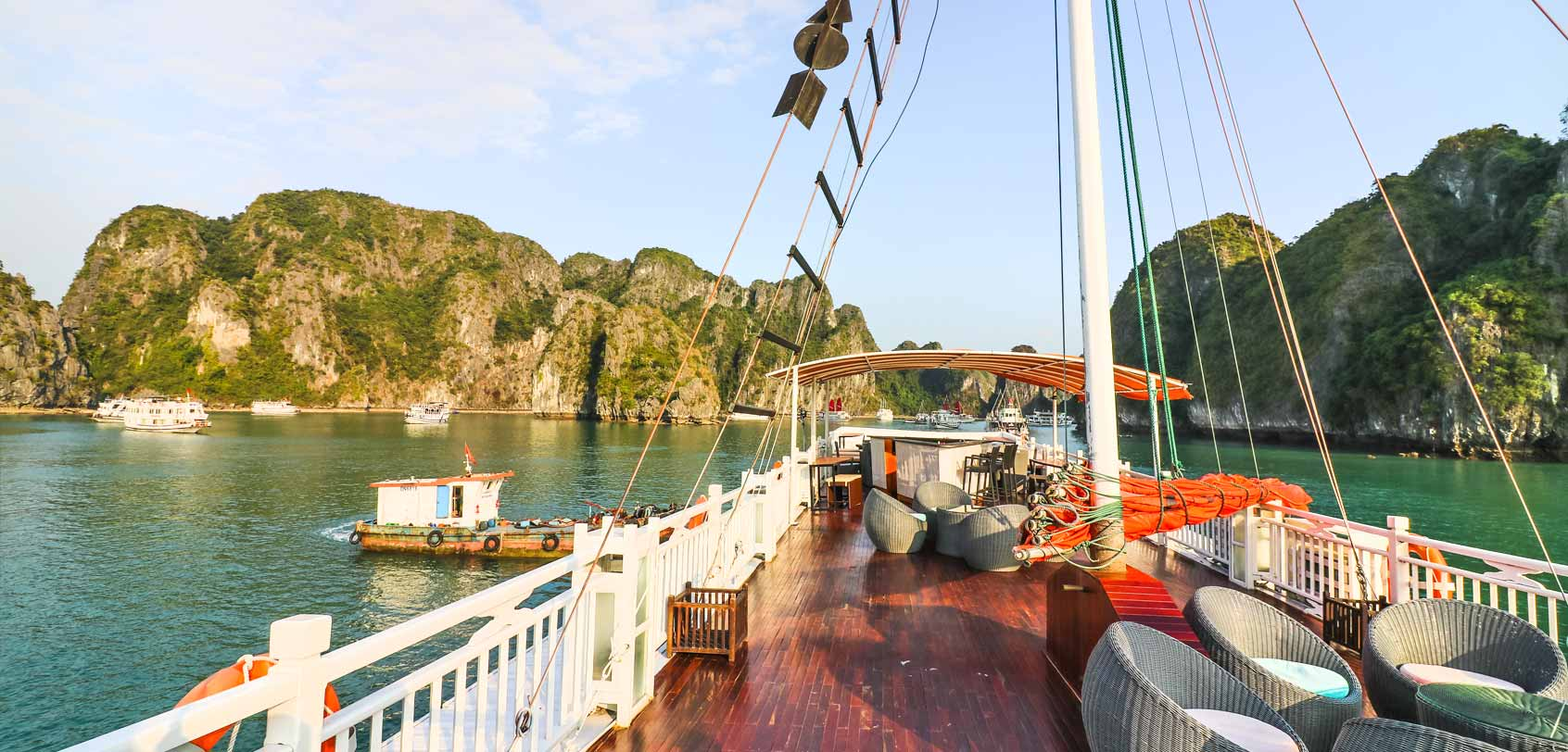 view of halong bay from onboard cruise ship