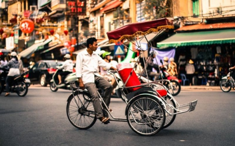 Cyclo is a traditional means of transportation in Hanoi