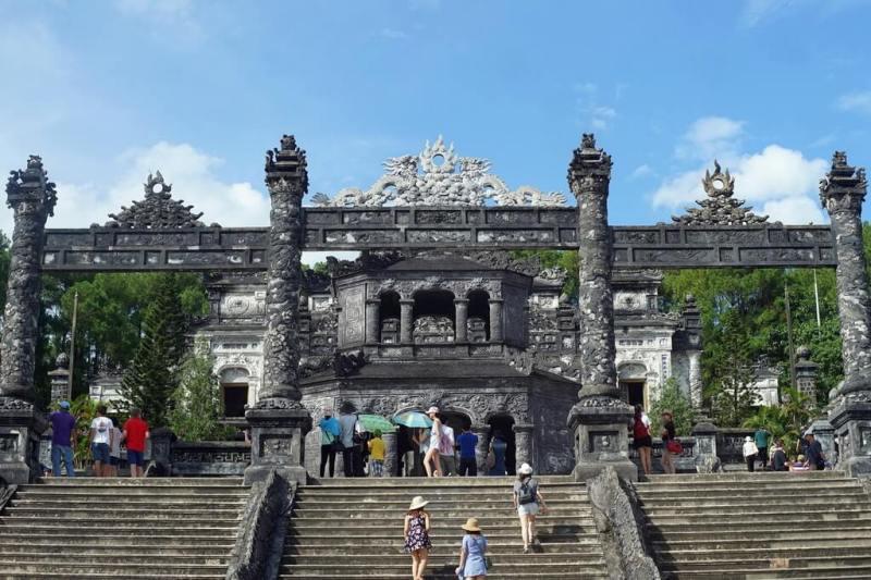 Crowded visitors visit Khai Dinh Tomb