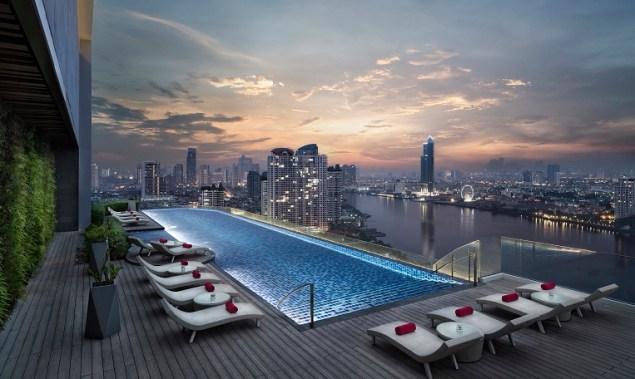 Stunning rooftop pool at Avani Riverside Bangkok