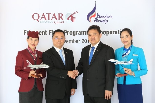Members of Bangkok Airways' FlyerBonus programme can now earn and redeem points on eligible Qatar Airways flights. Similarly, Qatar Airways' Qmiles members can now earn and redeem their miles when travelling on Bangkok Airways flights.. Click to enlarge.